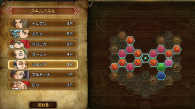 "Completely describe the system of Dragon Quest 11 ""Skill Panel""!"